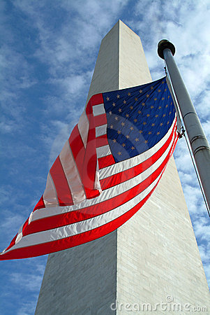 Washington Monument with Flag
