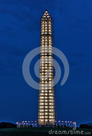 Washington Monument repair scaffolding illuminated