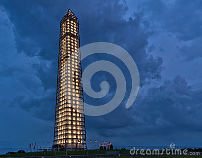 Washington Monument during a storm