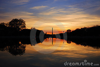 Washington monument at sunset, Washington DC