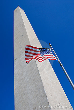 Free Washington Monument With Flag Stock Images - 3258854