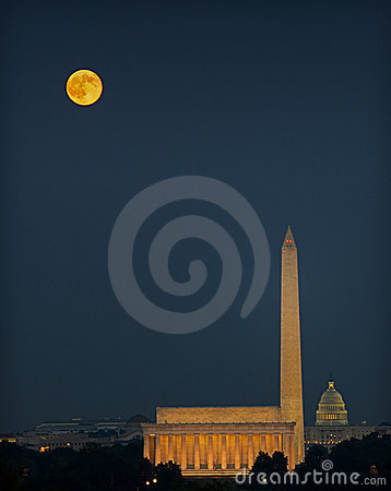 Washington Monuments and Harvest Moon