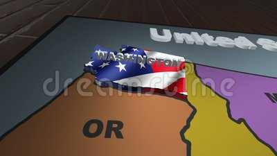 Washington pull out from USA states abbreviations map stock video footage