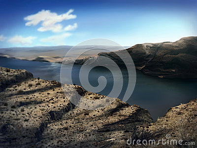 Washington River Gorge - Digital Painting