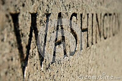 Washington sign on World War II memorial in DC
