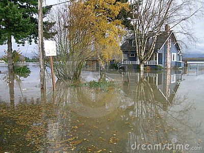 Washington State Flooding - Completely Surrounded by Water Editorial Photography