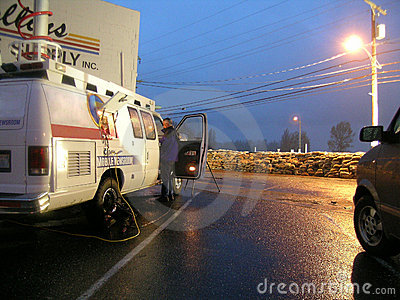 Washington State Flooding - News Crews Cover Flooding Editorial Stock Image
