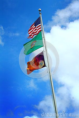 Washington State Park Centennial Flag Editorial Photography