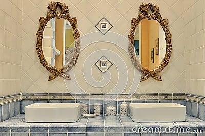 Washroom interior setting