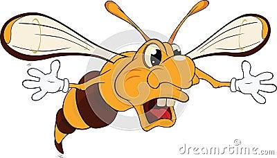 Wasp .Caricature Vector Illustration