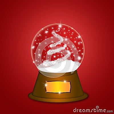wasser schnee kugel mit weihnachtsbaum funkelt rot stockbild bild 22473371. Black Bedroom Furniture Sets. Home Design Ideas