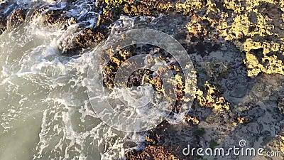 Wasser zwischen Felsen stock video