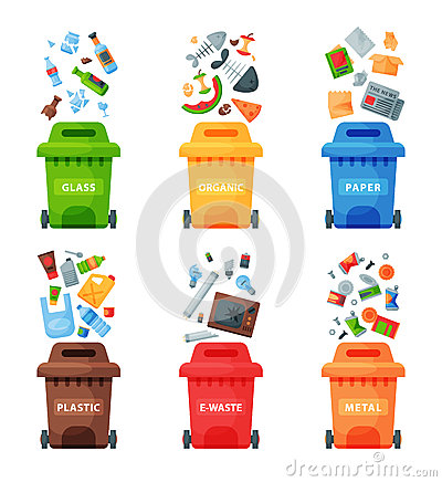 Free Waste Management Concept Segregation Separation Garbage Cans Sorting Recycling Disposal Refuse Bin Vector Illustration Royalty Free Stock Image - 92741406