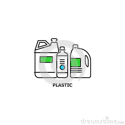 Free Waste Plastic Recycle Concept Icon In Line Design, Vector Flat Illustration  On White Background Stock Image - 104063971
