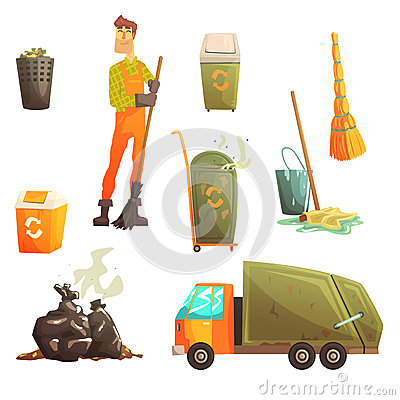 Waste Recycling And Disposal Related Object Around Garbage Collector Man Collection Of Cartoon Bright Icons Vector Illustration