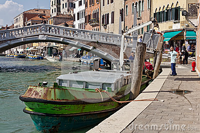 Waste Services in Venice Editorial Stock Photo