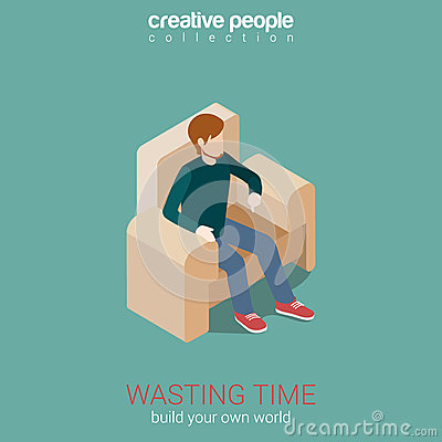 Wasting time leisure flat 3d web isometric infographic for Build your own net dream