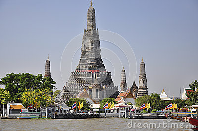 Wat Arun, a Bangkok landmark under blue sky