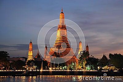 Wat arun temple dusk Bangkok Thailand.
