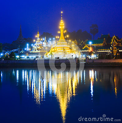 Free Wat Jong Klang At Night In The North Of Thailand Stock Photo - 32080690