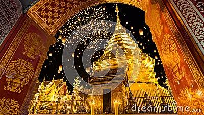 Wat Phrathat Doi Suthep Temple de Chiang Mai, Tailandia almacen de video