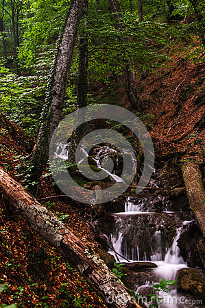 Wataerfall in forest, Crimea, Ukraine