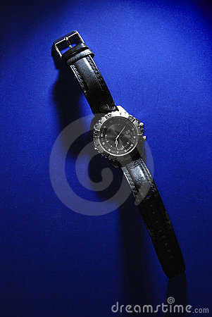 Watch on Blue Background