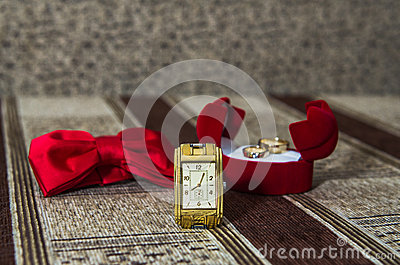 Watch, butterfly, wedding rings Stock Photo