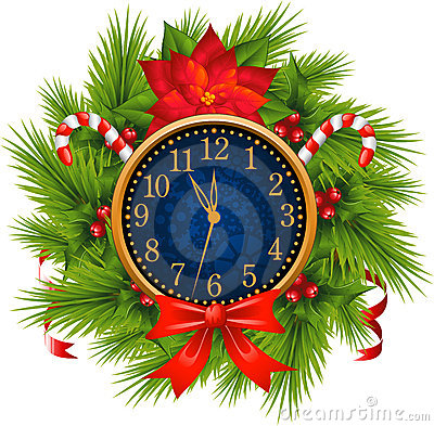 Watch decorated Christmas wreath (New Years Eve)