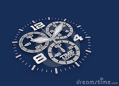 Watch detail in blue 3D time