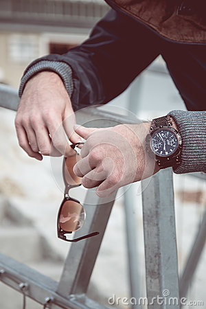 Free Watch On Man Hand Stock Images - 78122414