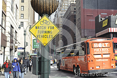 Watch out for bicyclist sign Editorial Stock Photo