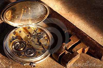 Watch and rusty key