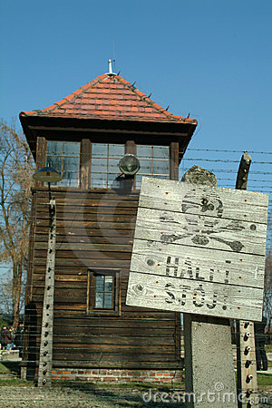Watch tower at Auschwitz Concentration Camp Editorial Stock Photo