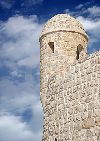 Watch tower in a restored Portuguese Fort Bahrain