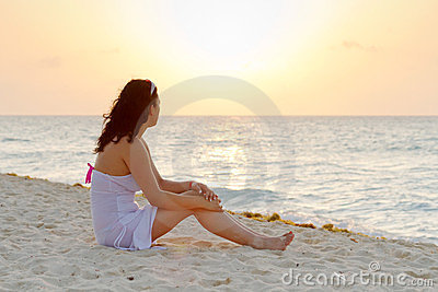 Watching sunrise on the beach
