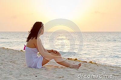 Watching sunrise on the beach