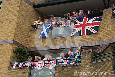 Watching the Thames Diamond Jubilee Pageant Editorial Stock Photo