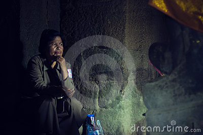 Watchman inside of Angkor Wat (Bayon Temple) Editorial Photo