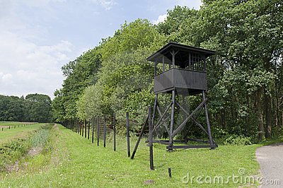 Watchtower at former concentration camp Westerbork Editorial Image