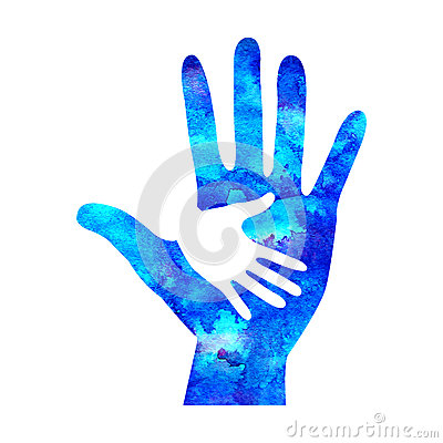 Free Watecolor Logo Illustration. Symbol Of Charity. Sign Hand Isolated On White Background.Blue Icon Company, Web, Card Royalty Free Stock Image - 84176296