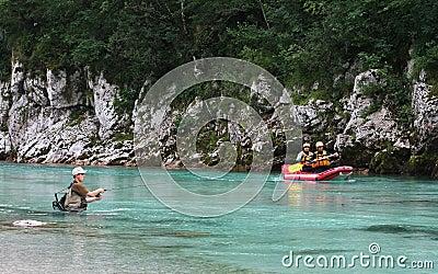 Water activities on Soca river , Slovenia Editorial Photo