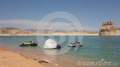 Water activity at a popular vacation destination in the desert Editorial Stock Photo