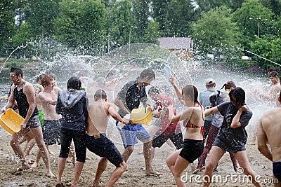 Water battle on Kiev beach Editorial Stock Photo