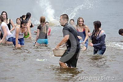 Water battle on Kiev beach Editorial Photography