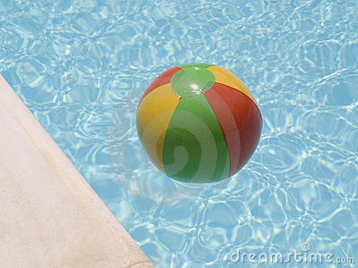Water beach ball in pool