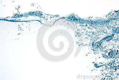 Water with big splash and bubbles