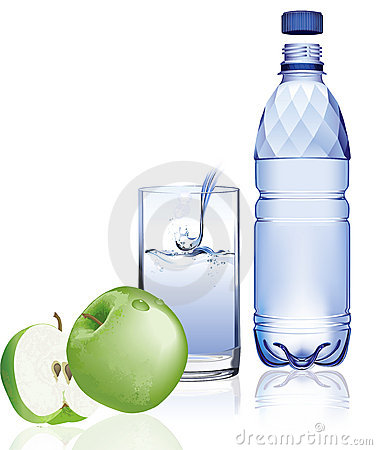Water bottle and apple.