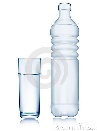 Water bottle and glass.