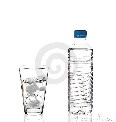 Water bottle and a glass